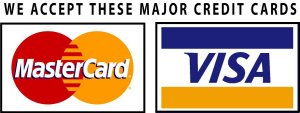 We accept these major credit cards: Visa, Mastercard
